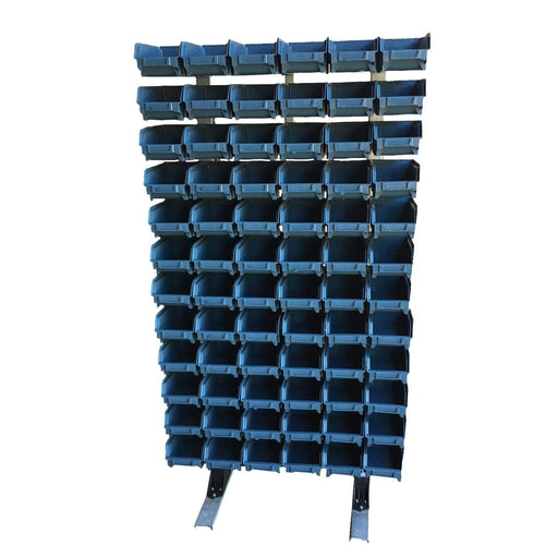 Freestanding Louvre Panel Parts Storage Bin Rack with 72  Bins