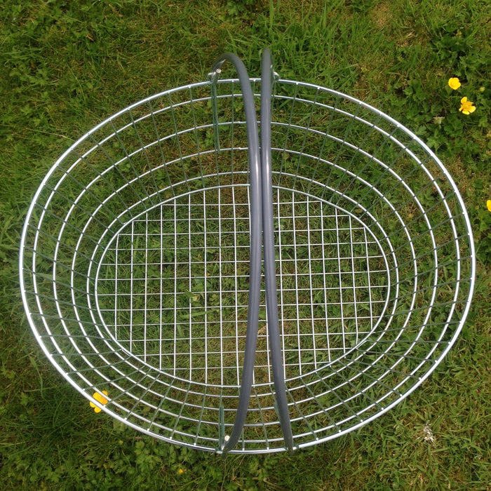 Oval Wire Shopping Basket - Grey Handle