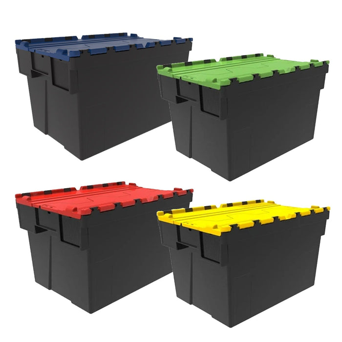 Loadhog Heavy Duty Plastic Storage Container with lid Pack of 85 (Four Colours)