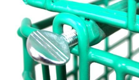MT8 Green Wire Storage Baskets - Bolt Close up