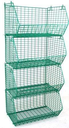 MT8 Green Wire Storage Baskets - 4 Stacked