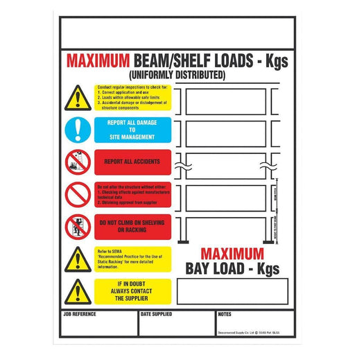 Shelf/Pallet Racking Load Notice (BLS5)