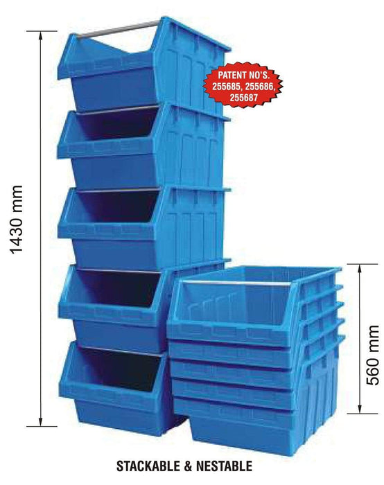 Large Stack & Nest Bin Supra 8 Stacking Storage Bin - BLUE