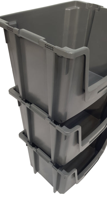 Grey Large Open Front Stacking Storage Pick Bin Containers