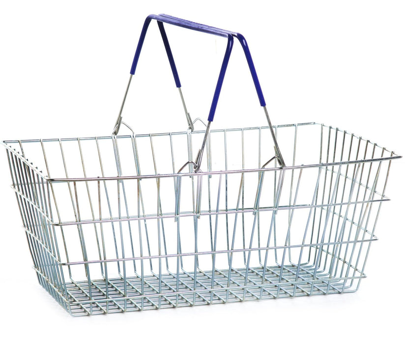 Wire Shopping Baskets - Blue Handle