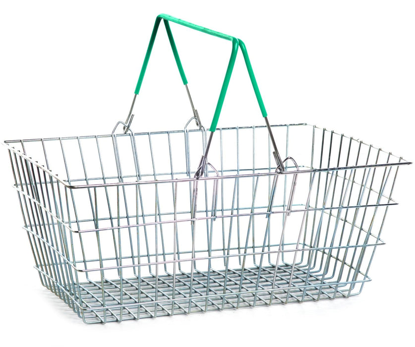 Wire Shopping Baskets - Green Handle