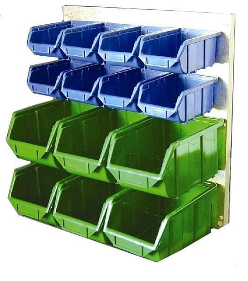 Metal Wall Storage Kit with 14 Plastic Parts Bins (Steel Panel)
