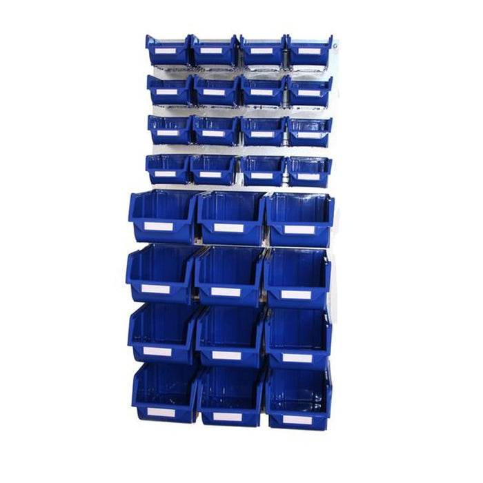 Metal Wall Storage Kit with 28 Plastic Parts Bins (Steel Panel)