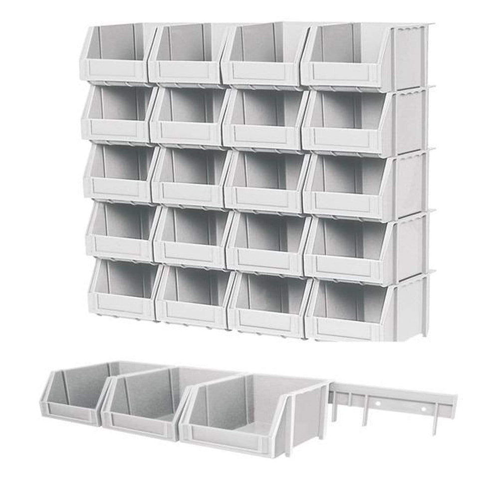 Wall Kit with 20 Parts Bins with 5 Plastic Rails