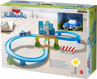 HABA Kullerbu Police Chase Playset - 16 Piece Figure 8 Starter Set with City Backdrop, Robber Ball and Police Car with Momentum Motor for Ages 2+