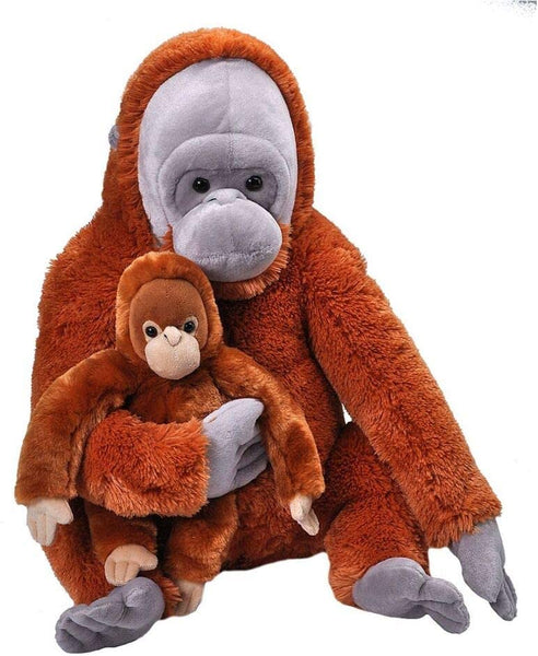 Wild Republic Jumbo Mom and Baby Orangutan, Stuffed Animal, 30 inches,