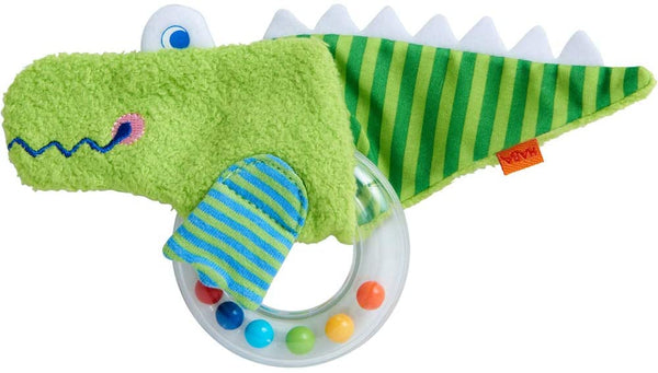 HABA Crocodile Fabric Clutching Toy with Removable Plastic Teething Ring
