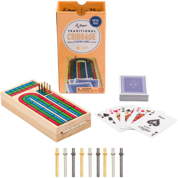 Regal Games Traditional Cribbage Set with Playing Cards