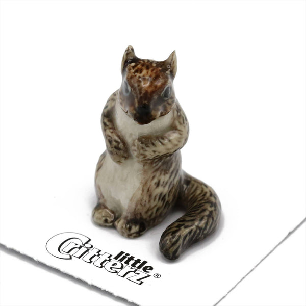 "Little Critterz ""Scamper"" Grey Squirrel Porcelain Miniature"