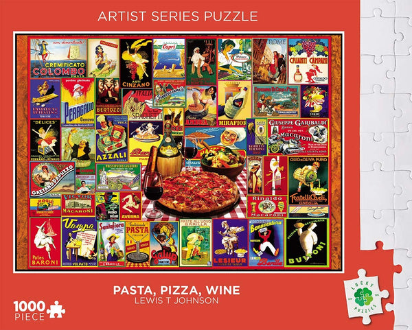Lucky Puzzles 1000 Piece Jigsaw Puzzle - Pasta Pizza and Wine by Lewis T Johnson