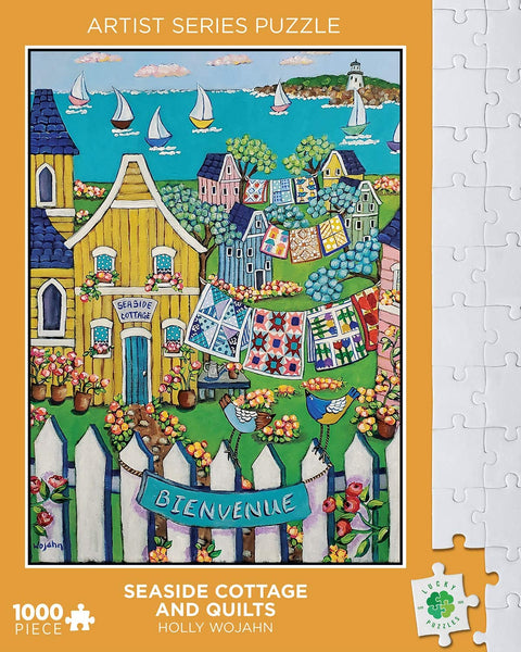 Lucky Puzzles 1000 Piece Jigsaw Puzzle - Seaside Cottage and Quilts by Holly Wojahn