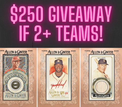 $250 GIVEAWAY IF 2+ TEAMS! 2020 Topps Allen & Ginter Baseball 12-Box Case Break #6 *PICK YOUR TEAMS PYT*