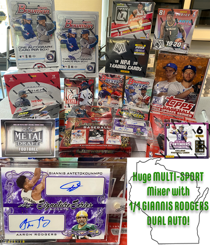 *1/1 GIANNIS/RODGERS DUAL AUTO GIVEAWAY* Jaspy's 21-Box Wisconsin Multi Mixer *RT*