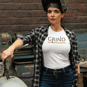 "WOMEN'S GRIND ""1984"" WHITE TEE- BY GRIND LEGACY APPAREL , FAILURE IS NECESSARY, EDUCATE, EXECUTE, ENDURE, EMPOWER"