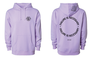 FAILURE IS NECESSARY HOODED SWEATSHIRT - LAVENDER ,  8.5 oz.(US) 14.1 oz.(CA), 80/20 cotton/ polyester blend fleece with 100% cotton face, Standard fit, Jersey lined hood, Split-stitched double-needle sewing on all seams, Twill neck tape, 1x1 ribbing at cuffs & waistband, Metal eyelets, Front pouch pocket, Tearaway label, by Grind Legacy Apparel. Educate, Execute, Endure, and Empower.
