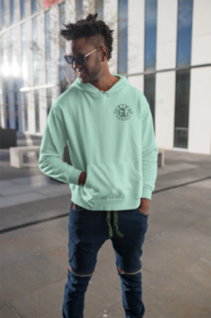 FAILURE IS NECESSARY HOODED SWEATSHIRT - MINT,  8.5 oz.(US) 14.1 oz.(CA), 80/20 cotton/ polyester blend fleece with 100% cotton face, Standard fit, Jersey lined hood, Split-stitched double-needle sewing on all seams, Twill neck tape, 1x1 ribbing at cuffs & waistband, Metal eyelets, Front pouch pocket, Tearaway label, by Grind Legacy Apparel. Educate, Execute, Endure, and Empower.