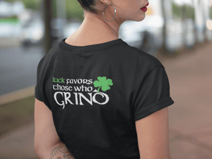 LUCK FAVORS THOSE WHO GRIND UNISEX TEE-BY GRIND LEGACY APPAREL, FAILURE IS NECESSARY,EDUCATE,EXECUTE,ENDURE,EMPOWER, 5.6 oz., 100% cotton, 20 singles, Pre-shrunk Relaxed fit,1x1 baby rib set-in collar, Drop shoulder,  Tubular, Tearaway label