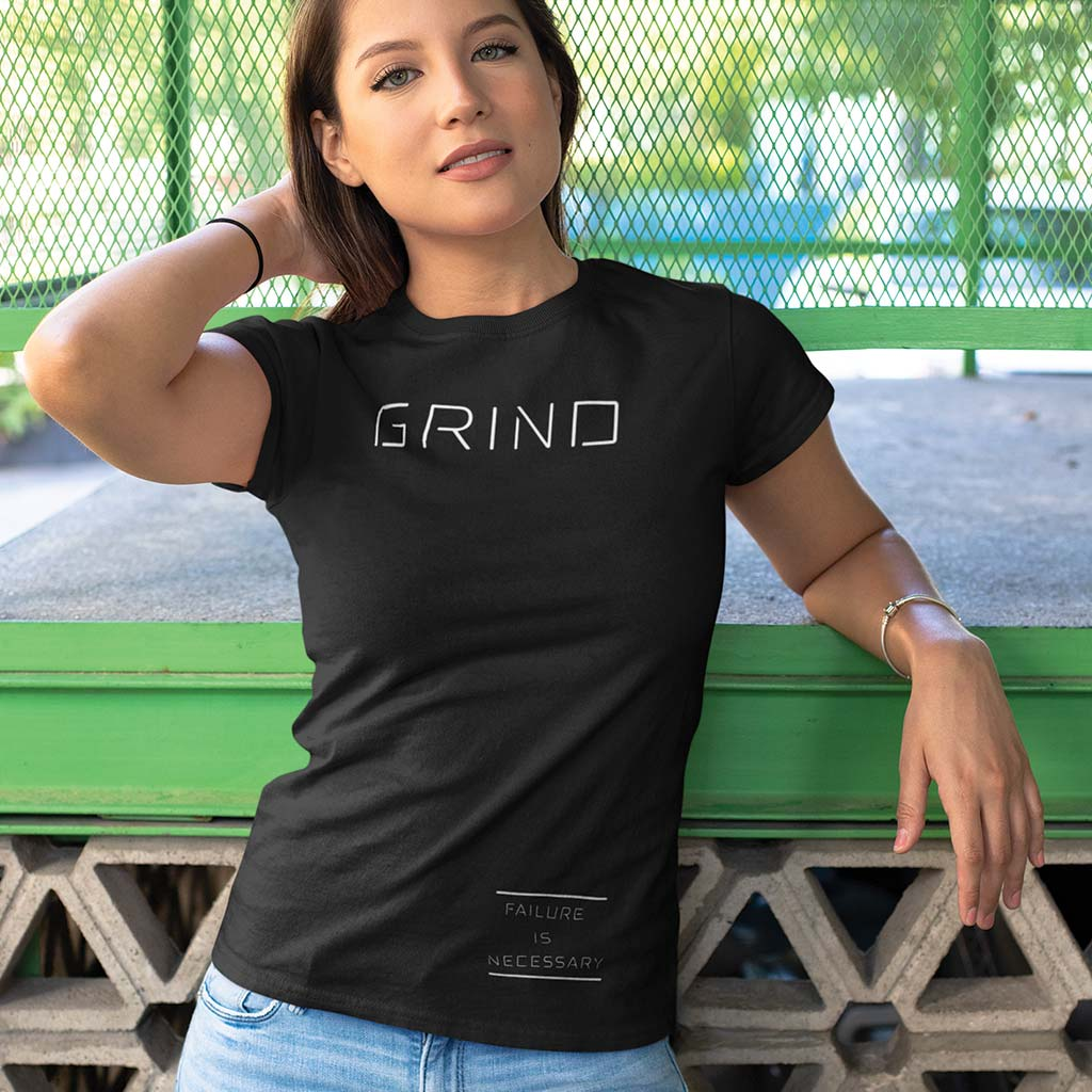 WOMEN'S GRIND TEE - Black by Grind Legacy Apparel. Educate, Execute, Endure, and Empower.