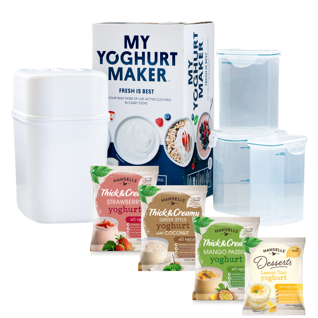 Hansells Starter Kit - Fruity Yoghurt Mixed (4x Sachets + Yoghurt Maker)