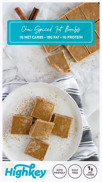 pin these keto chai spiced fat boms from HighKey to pinterest