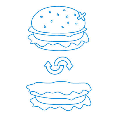 Easy Keto Meals swaps icon showing a burger being swapped for a bunless option