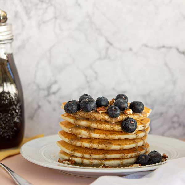 pancakes with nut butter and blue berries