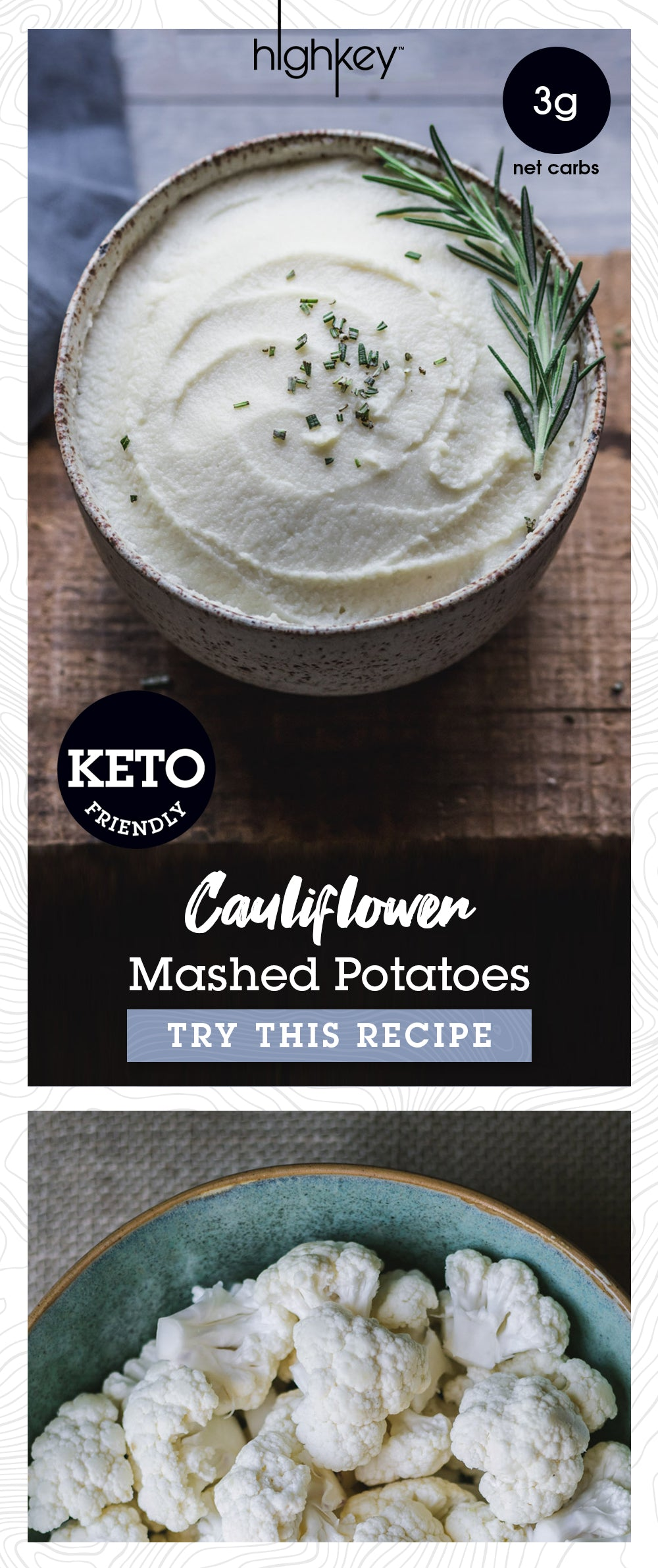 Keto Cauliflower Mashed Potatoes, HighKey Snacks