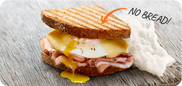 Panera Bread Ham, egg and cheese sandwich (hold the bread) | HighKey Snacks
