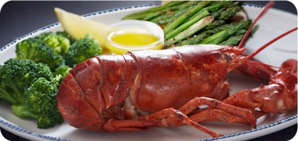 Keto Friendly Restaurants, Maine Lobster (1 ¼ lb) with Fresh Broccoli and Asparagus | HighKey Snacks