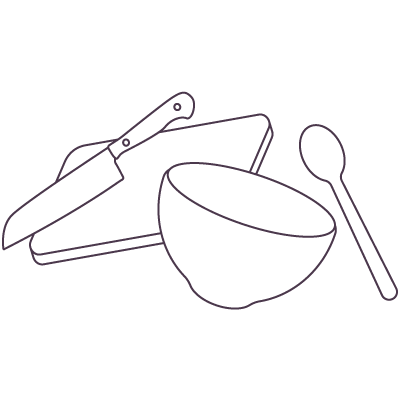low carb diet during the holidays icon showing kitchen utensils such as cutting board, knives, bowls, and spoons