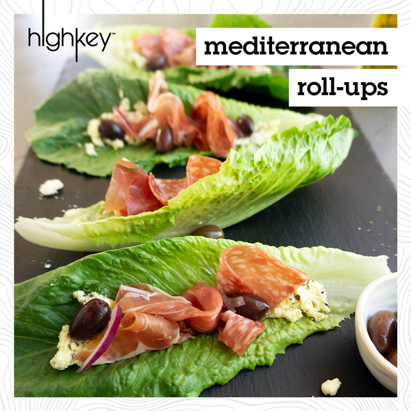 keto friendly recipe for mediterranean rolls ups on lettuce cups wit salmai, prosciutto, and kalamata olives