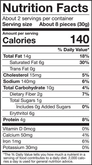 HighKey Mini Cookies Chocolate Chip Nutrition Facts Panel