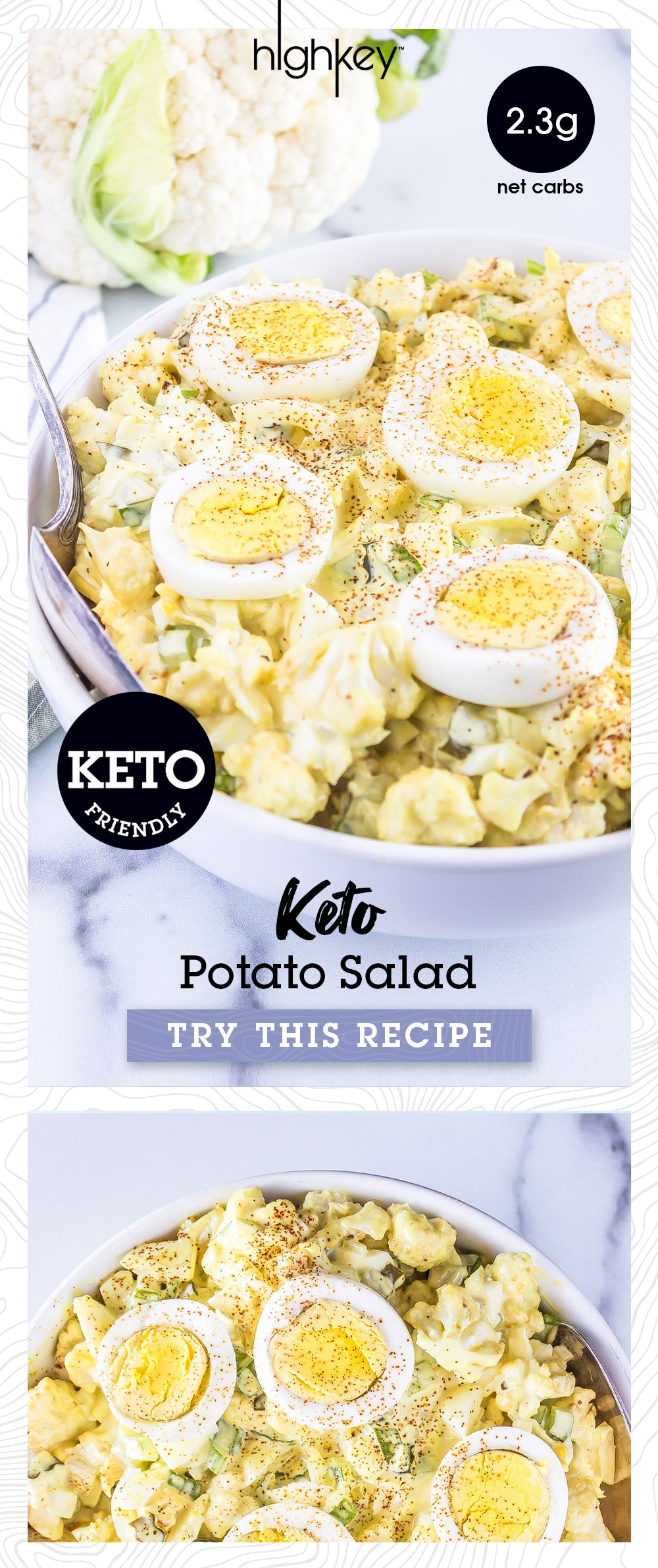 Cauliflower Potato Salad pinterest friendly graphic with whole cauliflower and cauliflower potato salad in a bowl topped with hard boiled egg slices