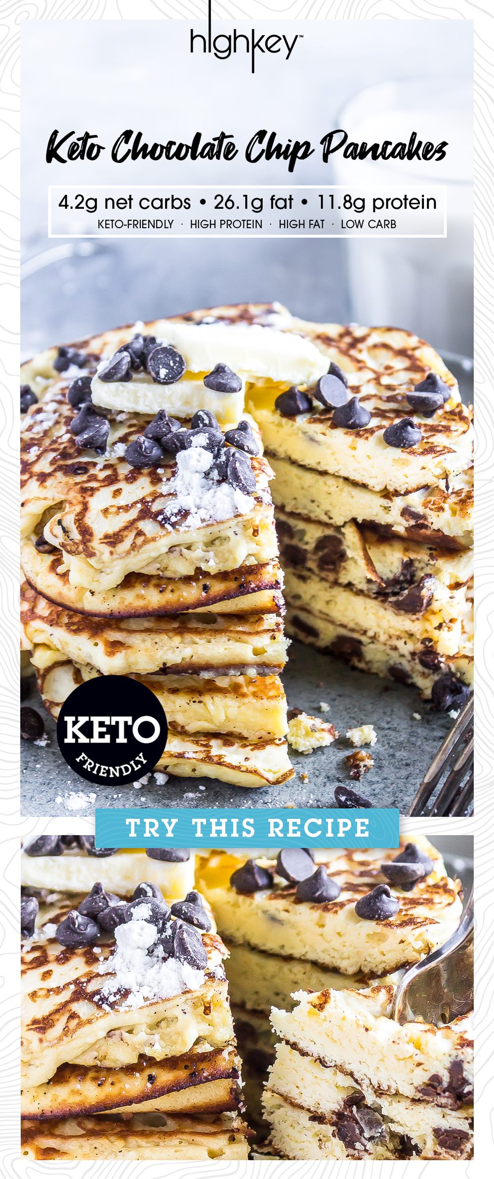 pin this higkey recipe for keto friendly chocolate chip pancakes perfect for a saturday morning with family