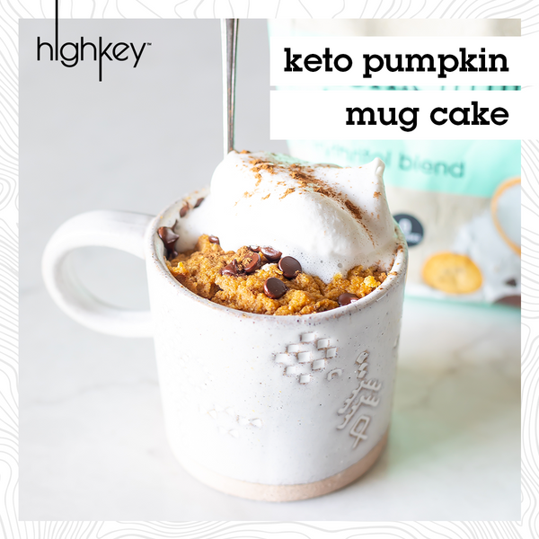 highkey pumpkin mug cake recipe sweetened with erythritol and chocolate chips perfect for the fall season