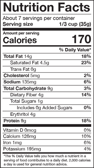 HighKey hot cereal cinnamon spice Nutrition Facts Panel
