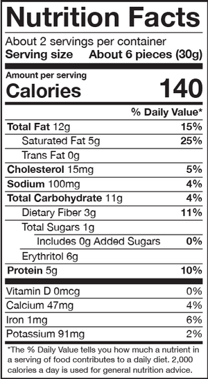 HighKey Mini Cookies Double Chocolate Brownie Nutrition Facts Panel