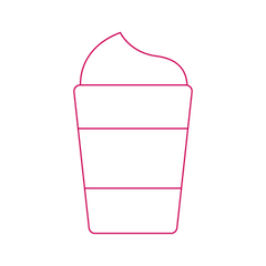 Starbucks Holiday Drinks no whip icon in striver pink showing a to go coffee cup with whipped cream