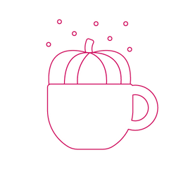 Starbucks Holiday Drinks icon with a coffee mug and a pumpkin in striver pink