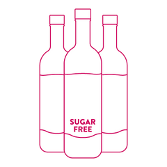 Starbucks Holiday Drink sugar free syrup icon showing three bottles of syrup labeled sugar free in striver pink