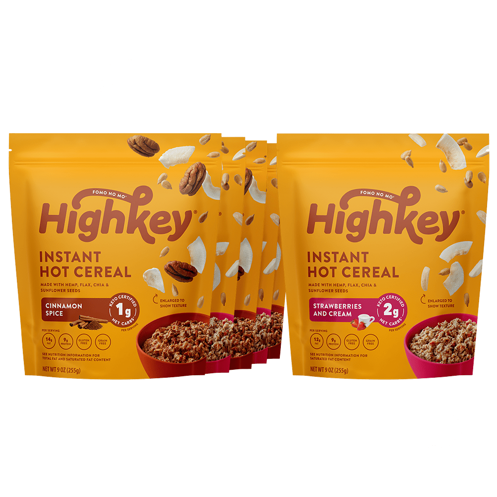 highkey hot cereal bundle cinnamon spice and strawberries & cream flavor buy 5 get one free