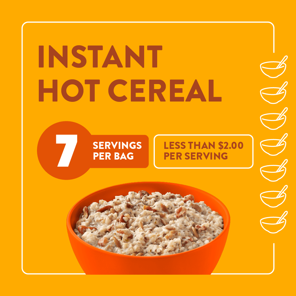 Instant hot cereal - 7 servings per bag