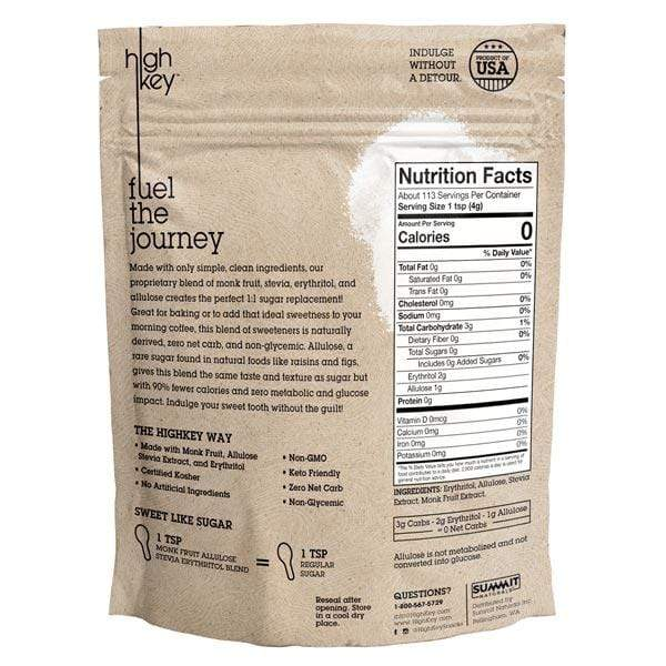 Monk Fruit Stevia Allulose - Erythritol Blend - HighKey (Back of Bag)