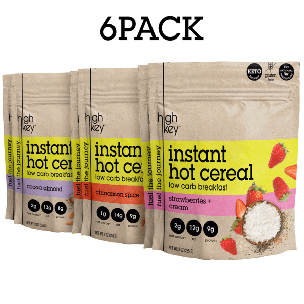 Instant Hot Cereal - Cocoa Almond, Cinnamon, & Strawberries + Cream - (Pack of 6) (2 of each flavor)  - HighKey
