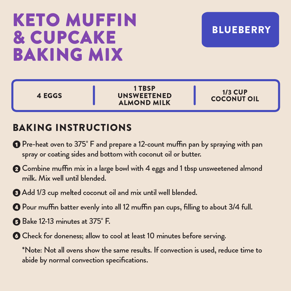 Highkey Low Net Carb Baking Mix blueberry muffin Baking Mix Flavor  Cooking Instructions